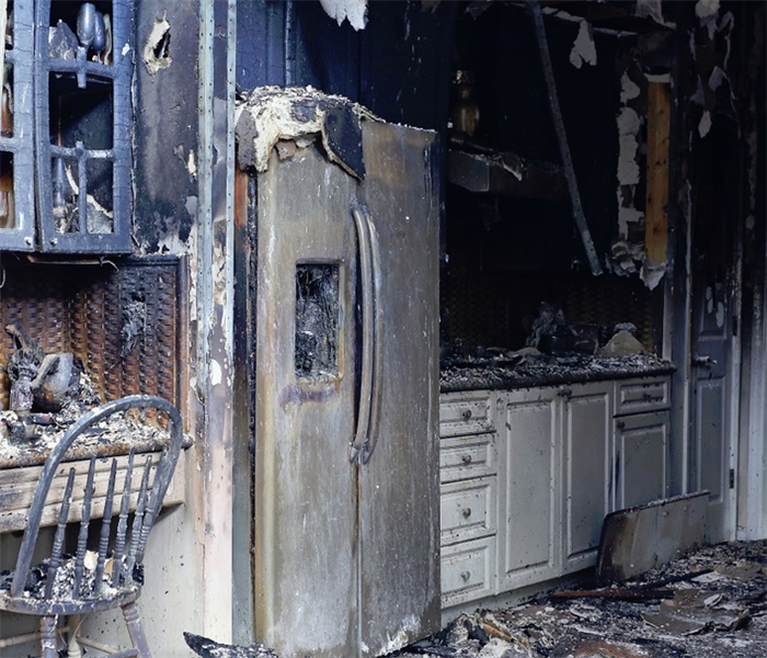 fire damage to a kitchen in an apartment