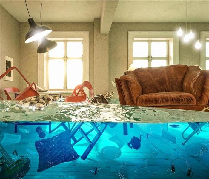 Flooded home with floating objects