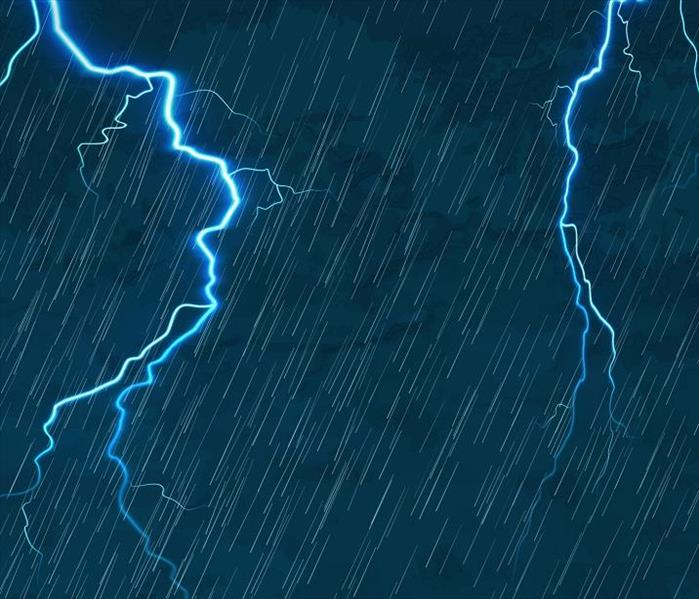 heavy rain and lightning on blue background